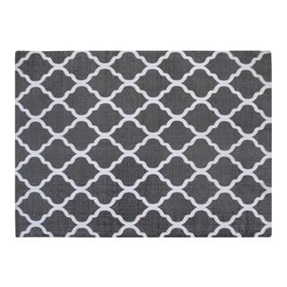 Cotton Grey/ White Area Rug (5'x7')