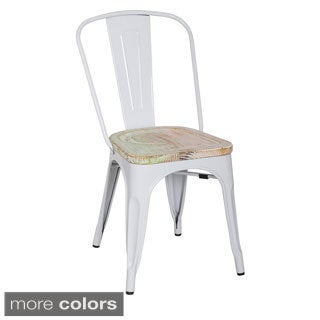 White Frame Vintage French Cafe Bistro Armless Chair (4 Pack)