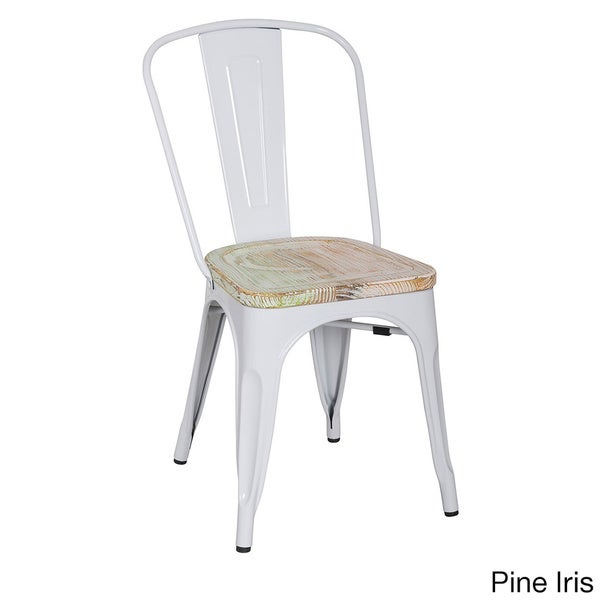 White Frame Vintage French Cafe Bistro Armless Chair (4 Pack ...