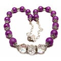 Violet Texture Glass Pearl and Clear Crystal 4-piece Wedding Jewelry Set