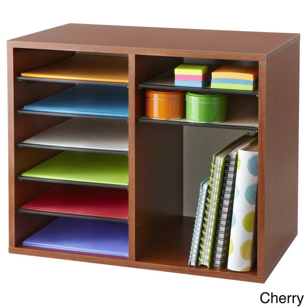 Wood 12 compartment adjustable literature organizer - Cherry desk organizer ...