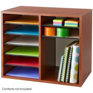 Wood 12-compartment Adjustable Literature Organizer