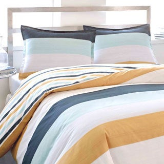 City Scene Sandbar Stripe Cotton 3-piece Duvet Cover Set