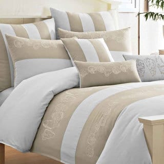Sandcastle Beach Embroidered Cotton Duvet Cover Set