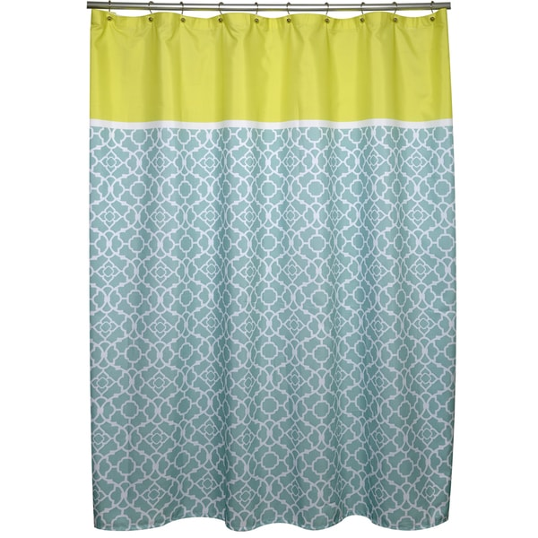 Irongate Lattice Aqua and Citron Shower Curtain