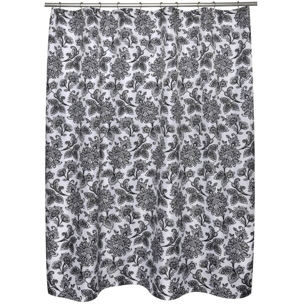 Black And White Floral Shower Curtain 16176854 Shopping Great Deals On