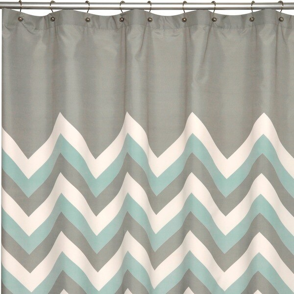 Laural home yellow and grey chevron shower curtain