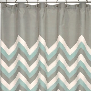 Brightly Chevron Microfiber Shower Curtain