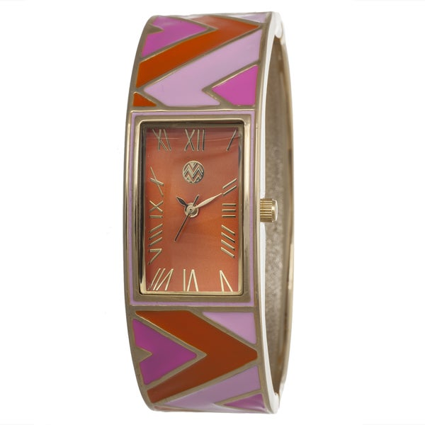 The Macbeth Collection Women's Multi-Colored Bangle Enamel Margarita Blush Watch