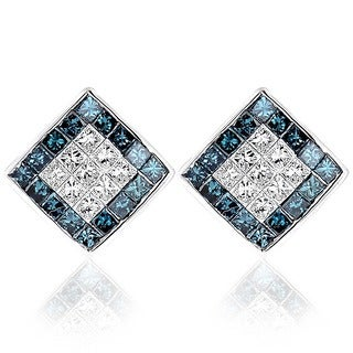 Luxurman 14k White Gold 1 1/10ct TDW Blue and White Princess Cut Diamond Earrings (SI1-SI2)