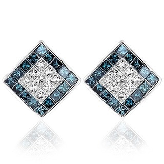 14k White Gold 1 1/10ct TDW Blue and White Princess Cut Diamond Earrings (SI1-SI2)