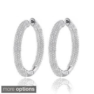 14k White Gold 2 5/8ct TDW Inside-out Pave Diamond Hoop Earrings (H-I, SI1-SI2)