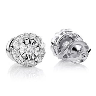 14k White Gold 3/5ct Pave-set Diamond Pave Stud Earrings (H-I, SI1-SI2)