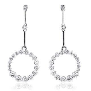 Luxurman 14k White Gold 1 2/5ct TDW White Diamond Chandelier Circle Earrings (H-I, SI1-SI2)