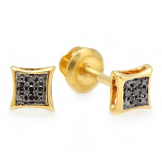18k Yellow Goldplated Black Diamond Accent Pave Kite-shape Stud Earrings