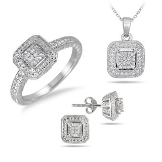 Sterling Silver Antique Engraved Diamond Jewelry Set (Size 7 Ring)