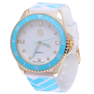 The Macbeth Collection Women's MBW023G-BL Pop Color Fashion Rubber Band Watch