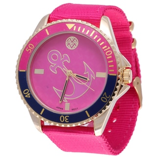 The Macbeth Collection Women's MBW028G-PK Pop Color Fashion Nylon Band Watch