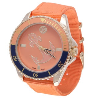 The Macbeth Collection Women's MBW028G-OR Pop Color Fashion Nylon Band Watch