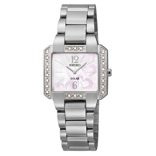 Seiko Women's 'Tressia' Solar Diamond Stainless Steel Watch