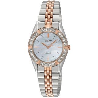Seiko Women's 'Solar' Two-tone Stainless Steel Mother of Pearl Dial Watch