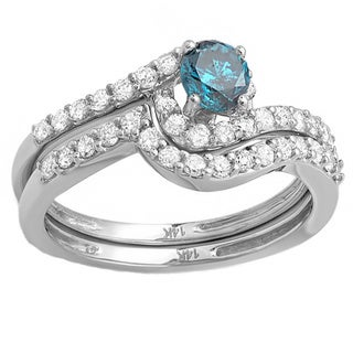 14k White Gold 4/5ct TDW Blue/ White Diamond Bridal Set (H-I, I1-I2)