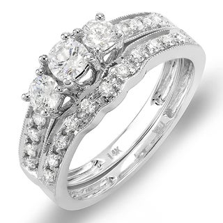 14k White Gold 3/4ct TDW Round-cut Diamond Bridal Set (H-I, I1-I2)