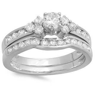 14k White Gold 1 1/10ct TDW Round-cut Diamond Bridal Set (H-I, I1-I2)