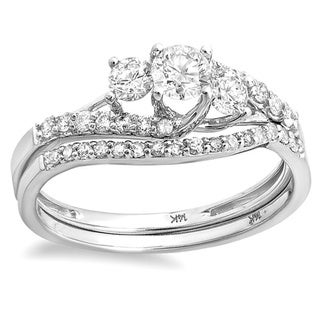14k White Gold 4/5ct TDW Round Diamond Bridal Set (H-I, I1-I2)