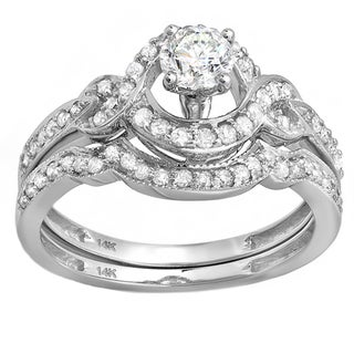 14k White Gold 3/4ct TDW Curved Band Bridal Set (H-I, I1-I2)