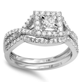 14k White Gold 1ct TDW Diamond Square Halo Bridal Set (H-I, I1-I2)