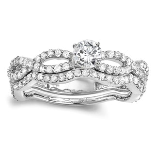 14k White Gold 1ct TDW Round Brilliant Braided Bridal Set (H-I, I1-I2)
