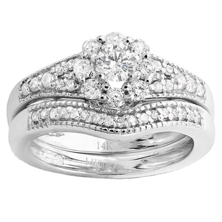 14k White Gold 4/5ct TDW Round Diamond Halo Bridal Ring Set