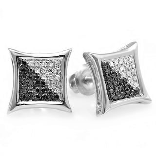 Sterling Silver Black & White Round Diamond Micro Pave Setting Kite Shape Stud Earrings