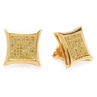 Sterling Silver Yellow Round Diamond Micro Pave Stud Earrings