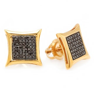 18k Yellow Goldplated Sterling Silver Black Diamond Micro Pave Stud Earrings