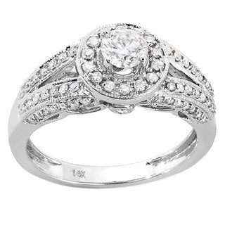 14k White Gold Round 4/5ct TDW Diamond Ladies Split Shank Halo Vintage Bridal Engagement Ring