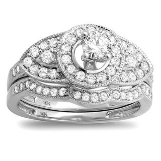 10k White Gold 1ct TDW Round Diamond Vintage-inspired Bridal Set (H-I, I1-I2)