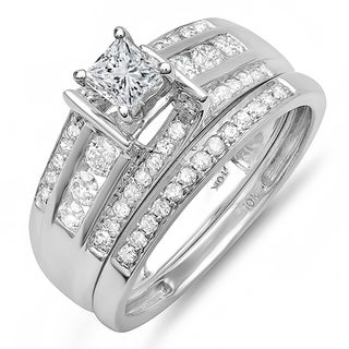 10k White Gold 1ct TDW Princess/ Round Diamond Bridal Set (H-I, I1-I2)