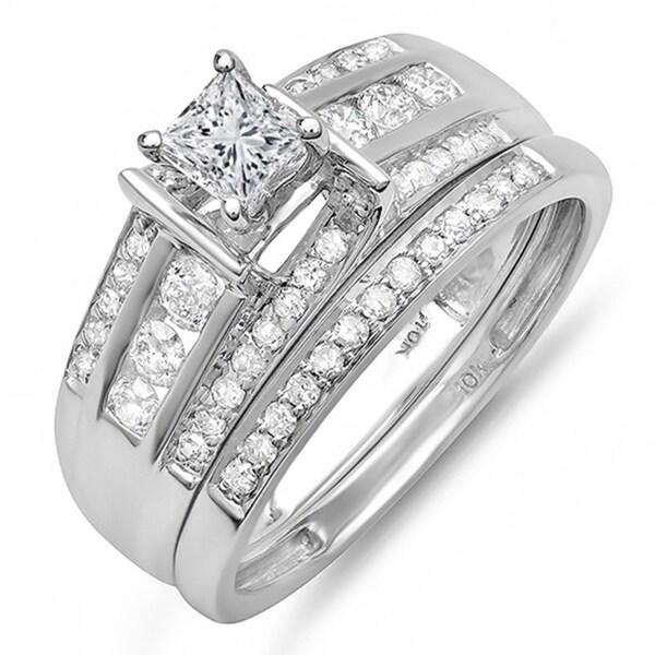 10k White Gold 1ct TDW Princess/ Round Diamond Bridal Set (H-I, I1-I2)