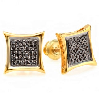 18k Yellow Goldplated Sterling Silver Black Diamond Micro Pave Kite Shape Stud Earrings