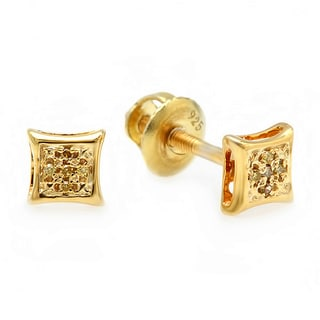 Yellow Goldplated Sterling Silver Yellow Diamond Micro Pave Petite Stud Earrings (I2-I3)