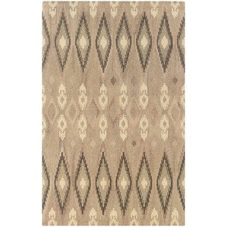 Ikat Pattern Hand-made Beige/ Ivory Rug (8' x 10')
