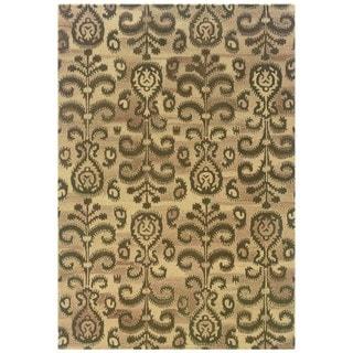 Ikat Floral Hand-made Beige/ Brown Rug (8' x 10')