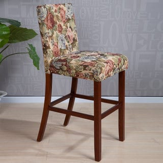 Arbonni Modern Wood Stain Floral Bar Stool