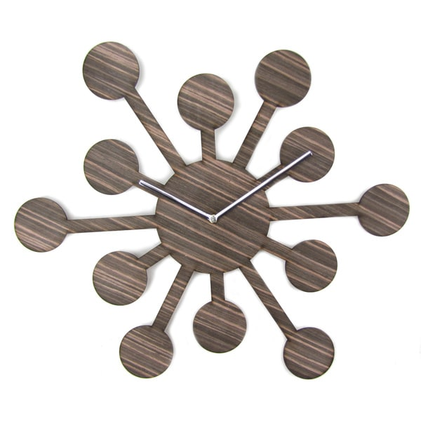 18-inch Espresso Brown Wood Asteroid Clock