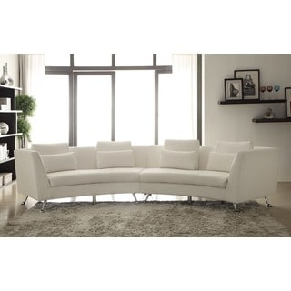 Lily White Curved Sectional Sofa