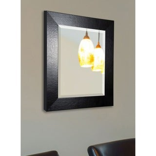American Made Rayne Black Leather Wide Wall Mirror