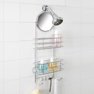 Deluxe 2-tier Shower Caddy with Adjustable Mirror