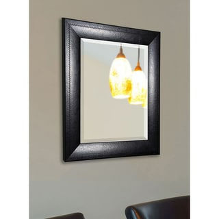 American Made Rayne Stitched Black Leather Wall Mirror